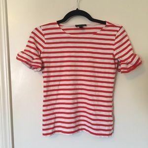J. Crew Ruffle Sleeve Red White Striped Tee XXXS